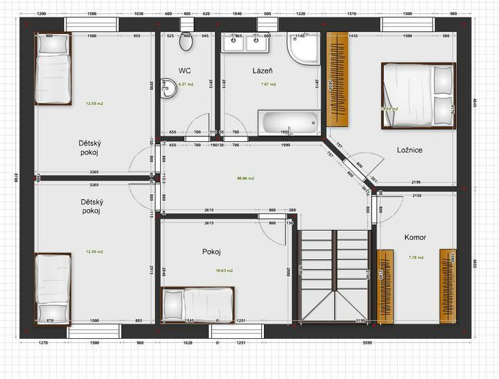 Projekt - vaše názory? - Projekt 1 - podkroví, dům 8,7 x 12,2 m