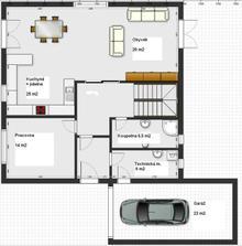 Projekt pro ségru, dům má taky 10,5 x 10,5 m