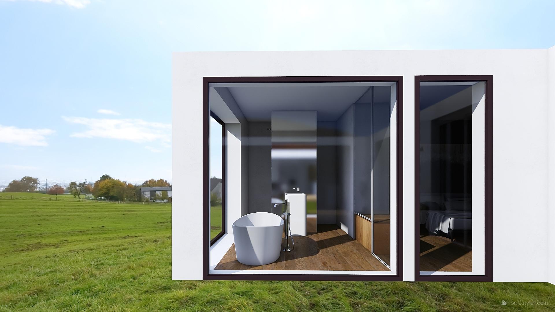 Mé dokonale nedokonalé vizualizace našeho budoucího domu - Koupelna u ložnice, vysněná vana s výhledem ven. WC a sprchový kout z každé strany schovaný za stěnou s umyvadlem.