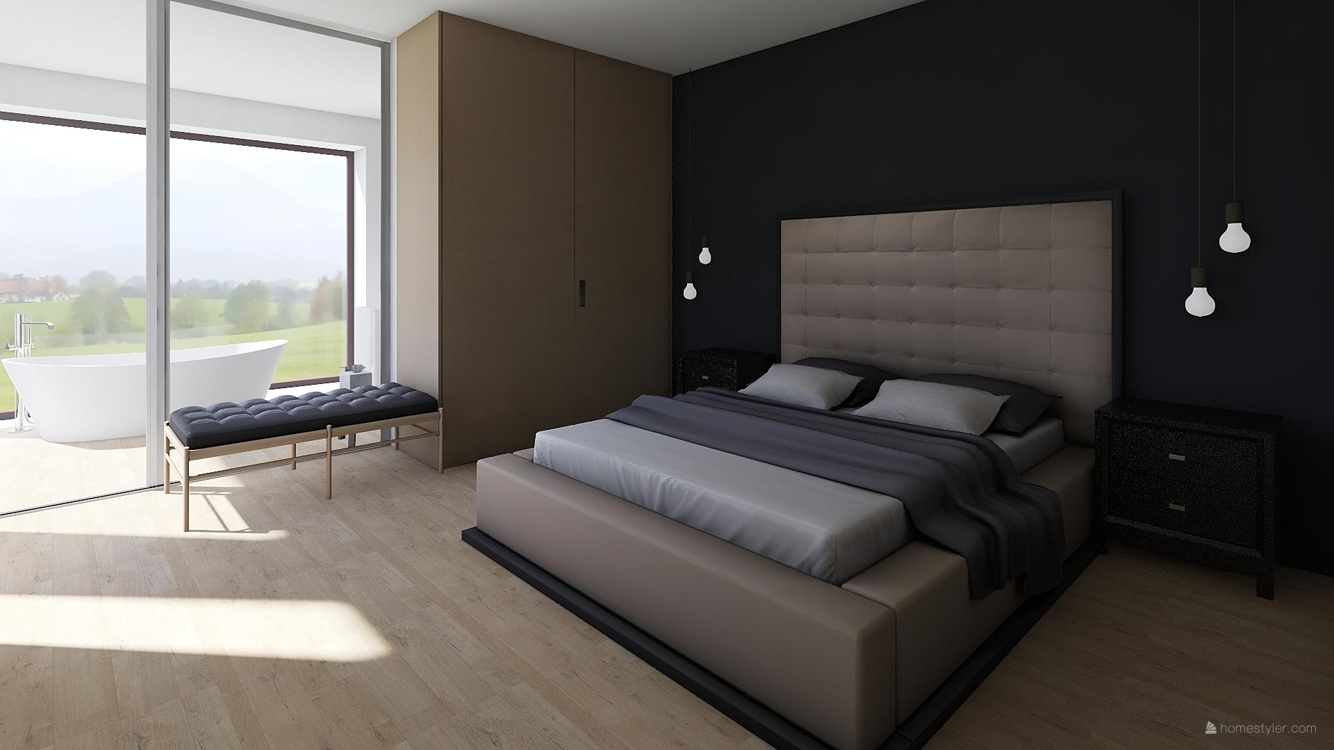 Mé dokonale nedokonalé vizualizace našeho budoucího domu - Ložnice s vysněným typem postele mého manžela :-)