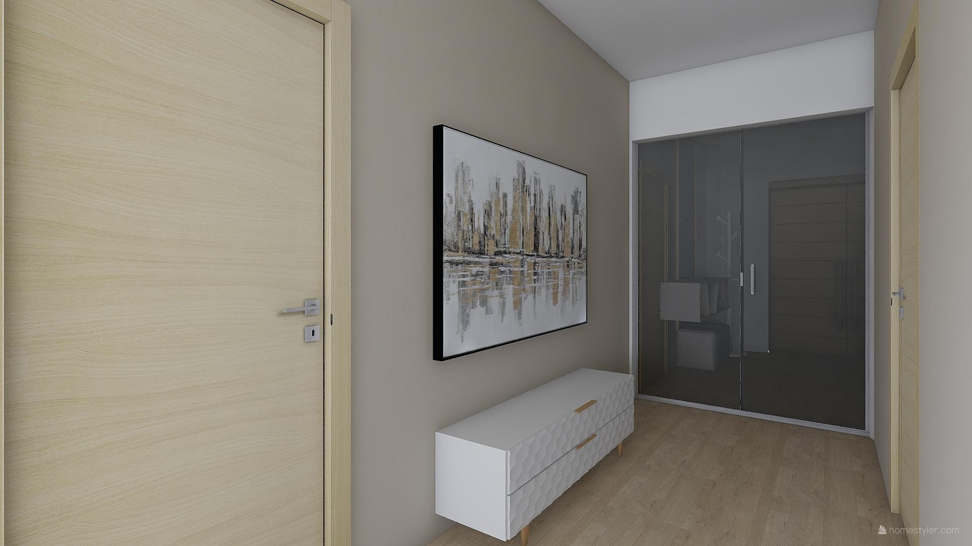 Mé dokonale nedokonalé vizualizace našeho budoucího domu - Chodba v obýváku s dveřmi do pracovny a denní zóny dětského pokoje.