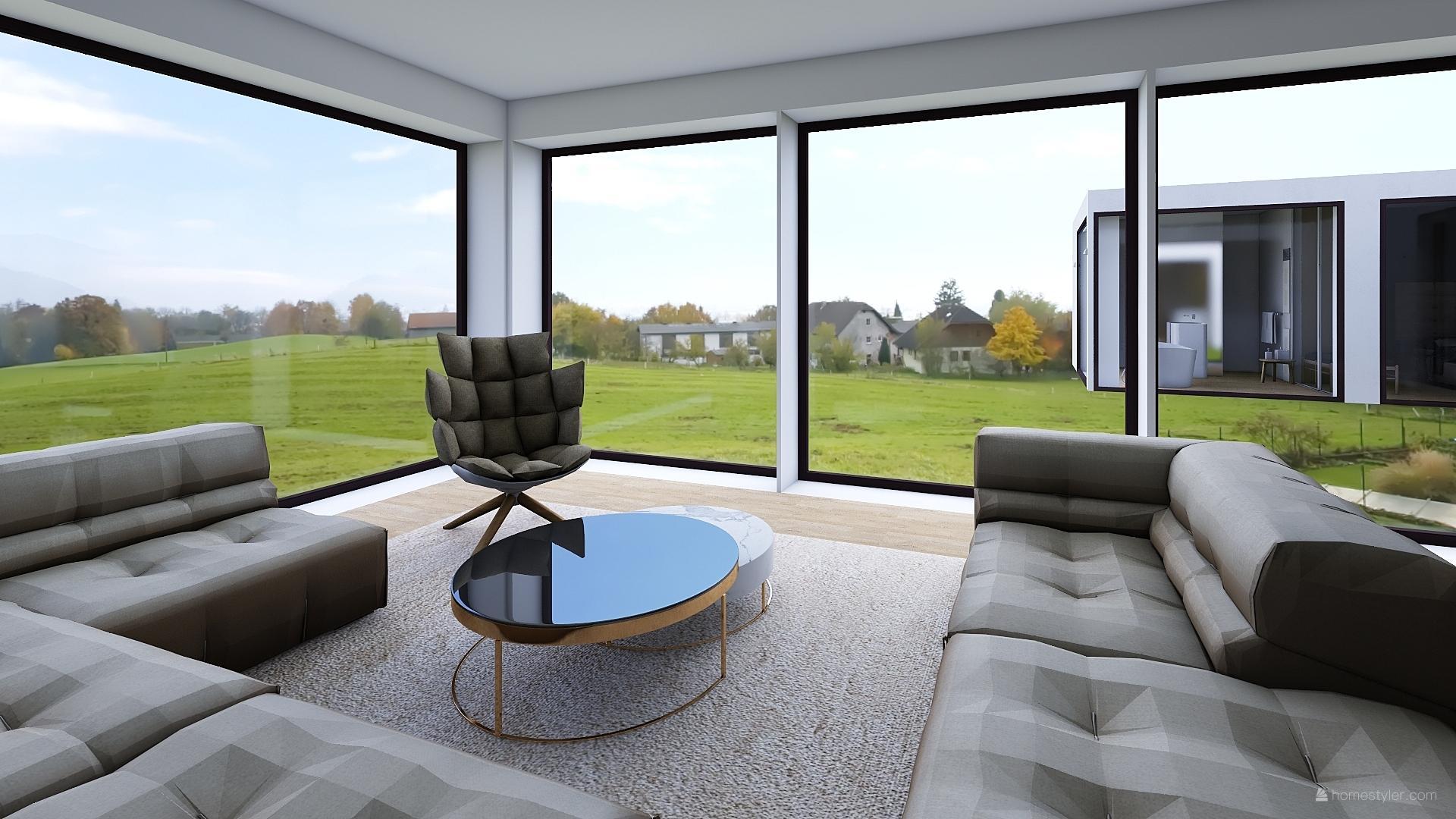 Mé dokonale nedokonalé vizualizace našeho budoucího domu - Sezení v obýváku.