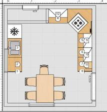 takže teď znovu vymyšlím uspořádání se sporákem v rohu (ty dveře mají být samozřejmě v té přední zdi a ta zadní tam nebude)