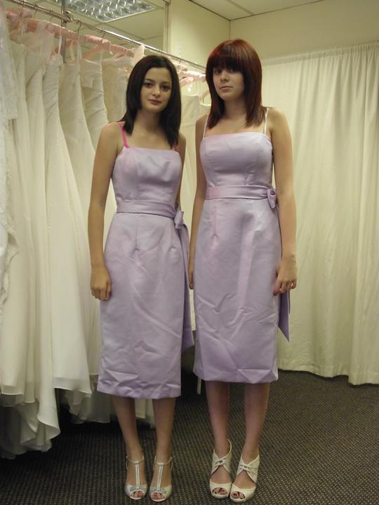 Preparations so far - Girls first dress fitting. Not sure whether I want them shortened an inch or two