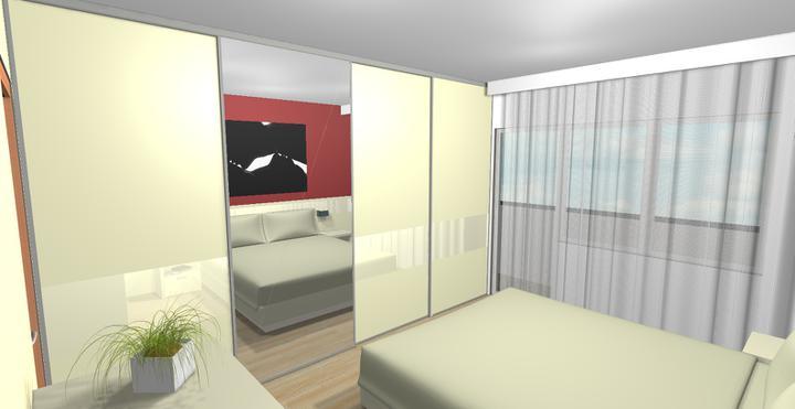 Paneláková spálňa (vizoška pre klienta) - Vstavaná skriňa so zrkadlom.