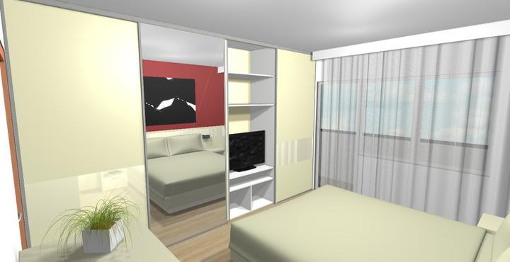 Paneláková spálňa (vizoška pre klienta) - Skriňa bola navrhnutá tak, aby v nej bol umiestnený aj televízor.
