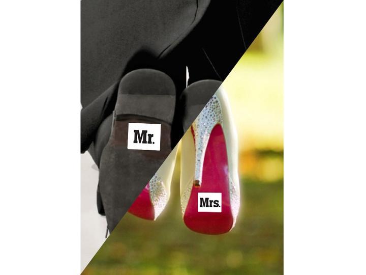 Co máme na naši svatbičku - nálepky na boty