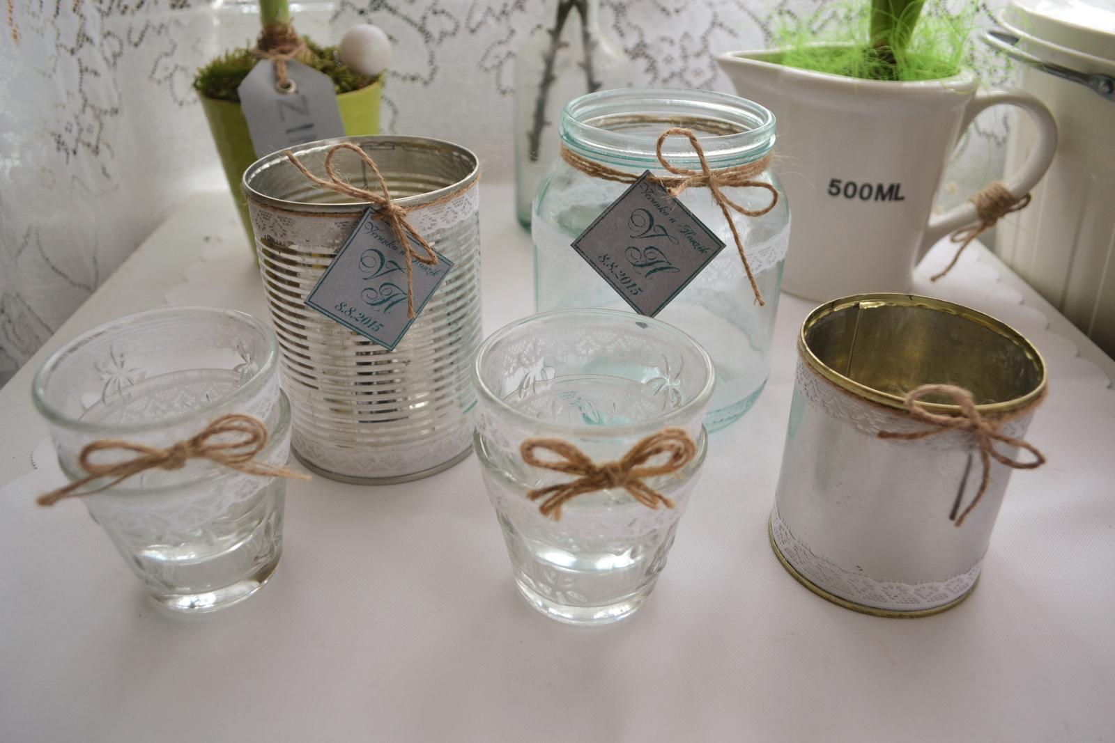 Co máme na naši svatbičku - plechovky a skleničky na květinovou výzdobu a svíčky