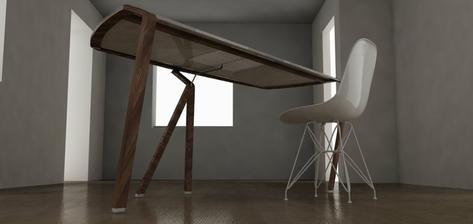 pracovný stôl, drevo (L.A. Bernkop) + LG HiMacs (obdoba Corianu)