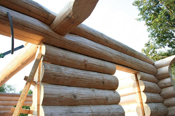 Stavba srubu - Druhá odshora měla poměrně velkou mezeru, druhý den to už nebylo vůbec poznat