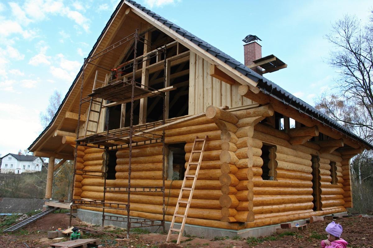 Stavba srubu - Natíráme lazurou, odstín nová bříza