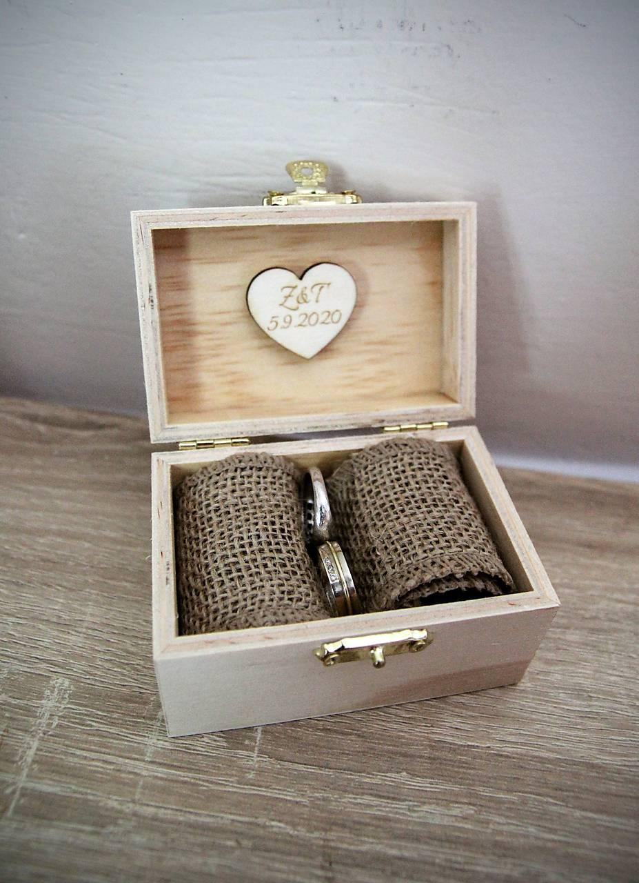 krabička na obrúčky s vlastným dátumom svadby - Obrázok č. 2