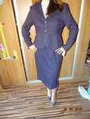 Tmavofialový sukňový kostým s visačkou, 44