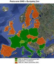 Štáty EÚ so zákazom / bez zákazu pestovania GM plodín.