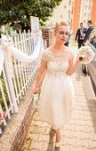 Krátke retro ivory-zlaté svadobné šaty 38-40, 38