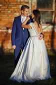Brokátové svadobné šaty ivory, 40