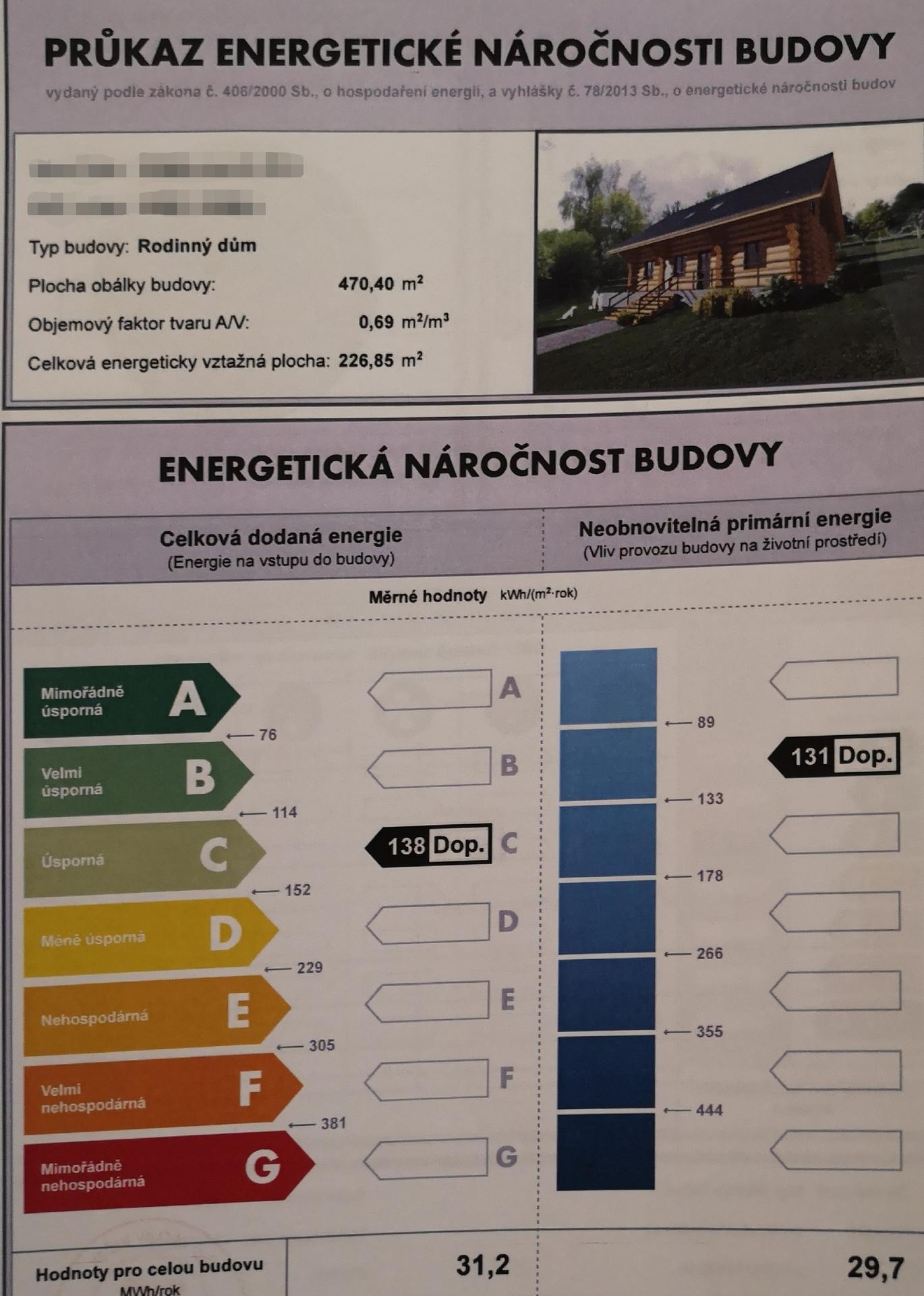 Vizualizace (představa) - Propočet energetické náročnosti při kulatině 45cm.