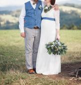 Pohodlné těhotenské svatební šaty vel 42-44, 44