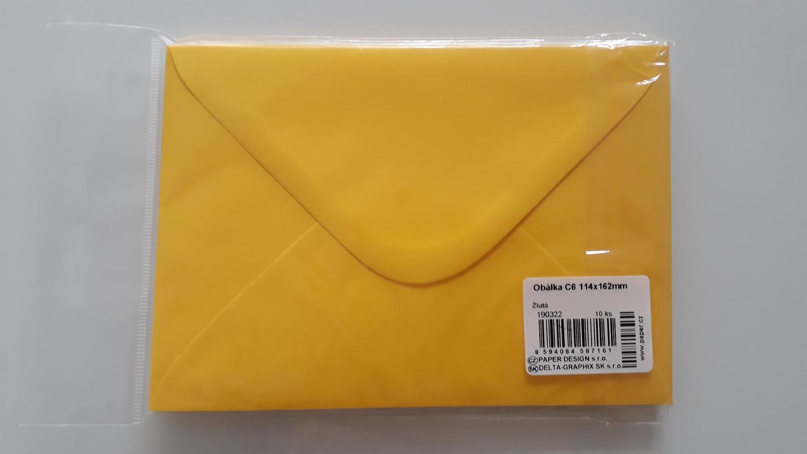 Žlutá dopisní obálka C6, 80g, 114x162mm, NOVÁ, 10ks - Obrázek č. 1