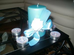 Ozdobené svíčky na stůl,vlastnoruční výroba...