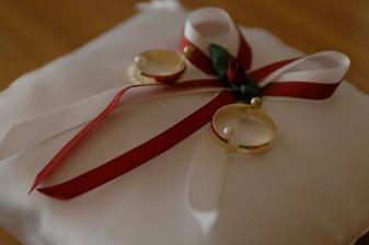 Polštářek na prstýnky od kamarádky - děkujeme