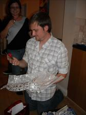 Mark receiving a vital tool from his grandma - a potato peeler :D she told him that I wasn't allowed to touch it