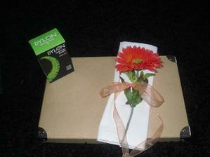 A napkin I made out of a soft bedsheet with one of my flowers and tied with ribbon. I am going to dye the mapkins in the green dylon dye :)