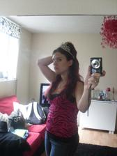 my tiara and how high I expect my hair will need to be lol im not glaring at the mirror, honest lol