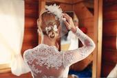 Exkluzivní krajkové svateb. šaty s dlouhým rukávem, 34