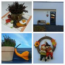 Podzimní dekorace, lavička se bude natírat až se počasí umoudří :-)