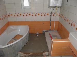 spodná kúpelna sa tiež obkladá
