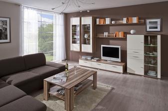 nábytok do obývačky objednaný Decodom Sonora - skrinka pod TV, závesná skrinka a polica