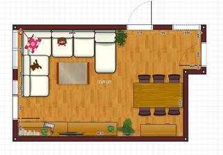 podorys obyvackojedalne. Vlavo je vstup na balkon, vpravo chodba, hore izba a kuchyna.