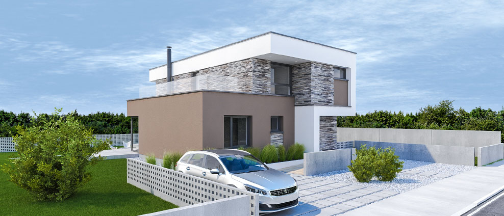 Marimba - projekt rodinného domu - Predný pohľad