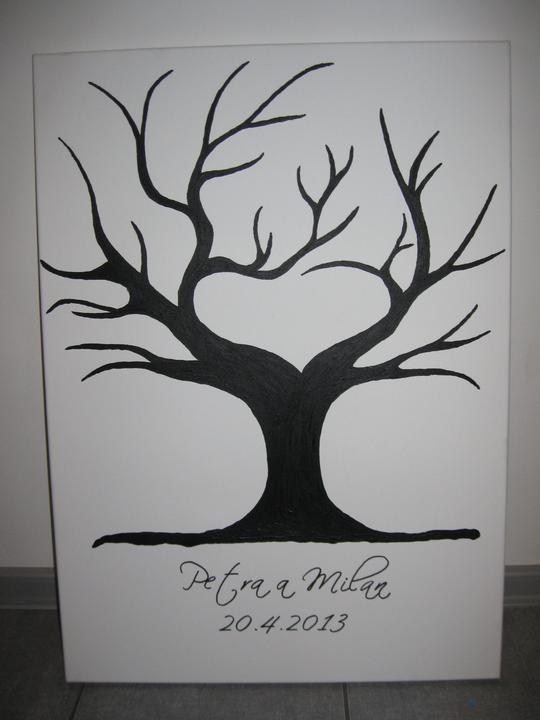 To, co je už doma - Náš sbvatební strom - 50 x 70 cm (na plátně mnou namalovaný akrylovou barvou) případně Vám ho mohu také vyrobit