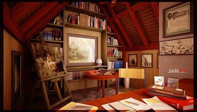 takto by som si vedela predstaviť moju knihovňu a pracovňu v podkroví :)