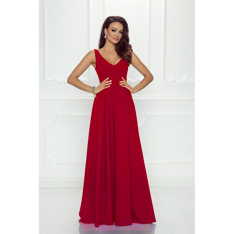 Spoločenské šaty dlhé Klaudia červené veľ. S - Obrázok č. 1