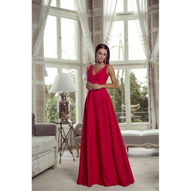 Spoločenské šaty dlhé Klaudia červené veľ. S - Obrázok č. 2