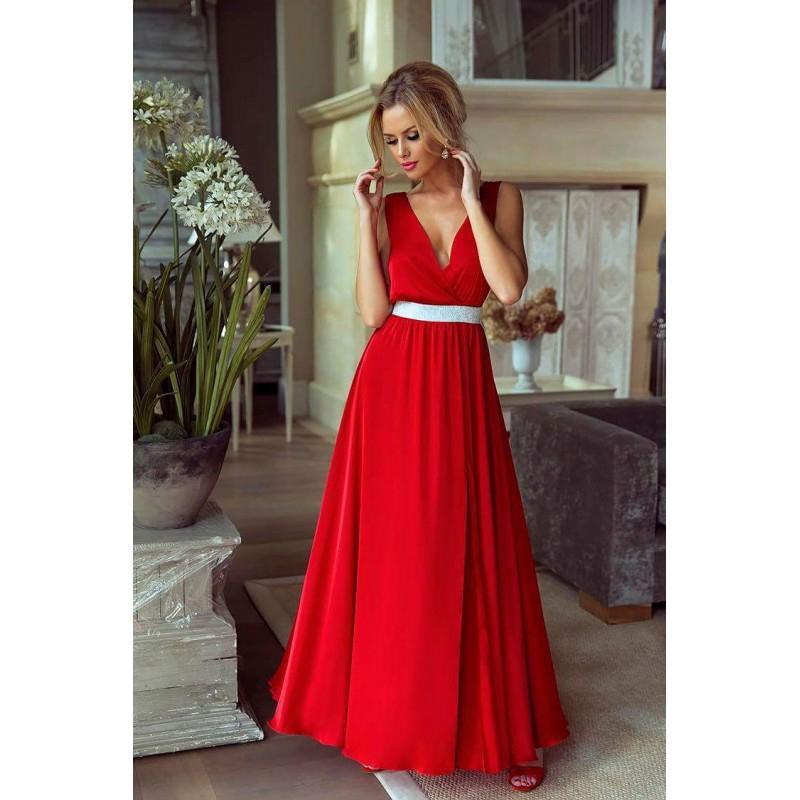Spoločenské šaty dlhé Stela červené veľ. M - Obrázok č. 1