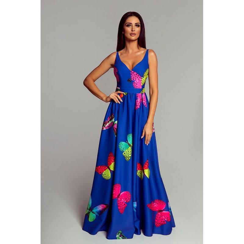 Spoločenské šaty dlhé Meggie s motýľmi veľ. M - Obrázok č. 1
