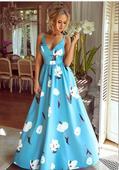 Spoločenské šaty dlhé Meggie modré kvety veľ.M,