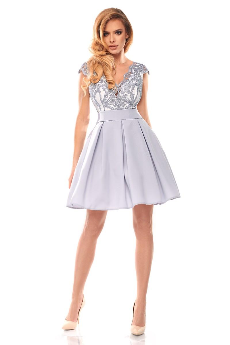 Koktejlové šaty Butterfly sivé veľ. S - Obrázok č. 1