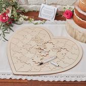 Drevená svadobná kniha hostí puzzle,