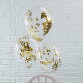 Priehľadný balón so zlatými konfetami,
