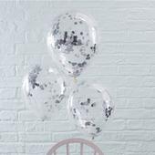 Priehľadný balón so striebornými konfetami,