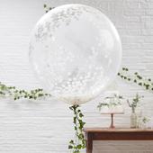 Obrí balón s bielymi konfetami priehľadný,
