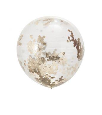 Obrí balón s ružovo-zlatými konfetami priehľadný - Obrázok č. 1