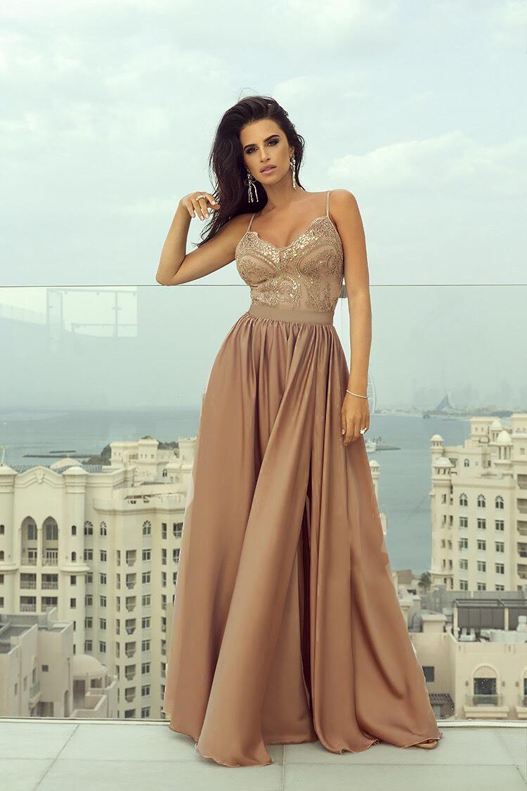 Spoločenské šaty dlhé Belle cappuccino veľ. S - Obrázok č. 1