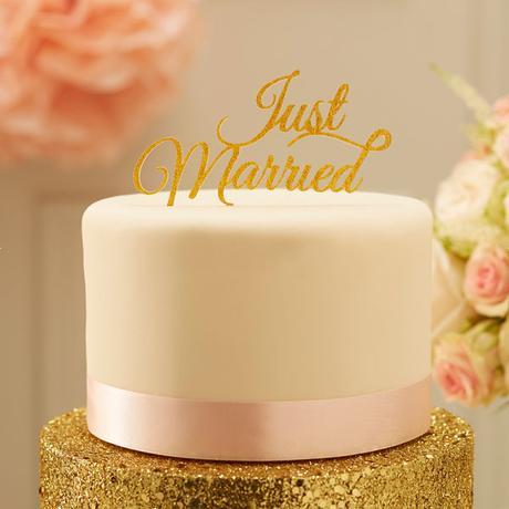Metalický zápich na tortu Just Married zlatý - Obrázok č. 2
