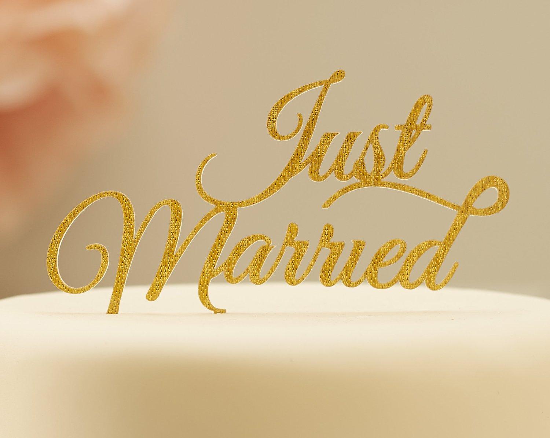 Metalický zápich na tortu Just Married zlatý - Obrázok č. 1